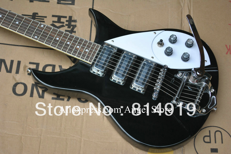 Black Rick 325 Model 3 Pickup Bigsby Tremolo Electric Guitar In Stock(China (Mainland))