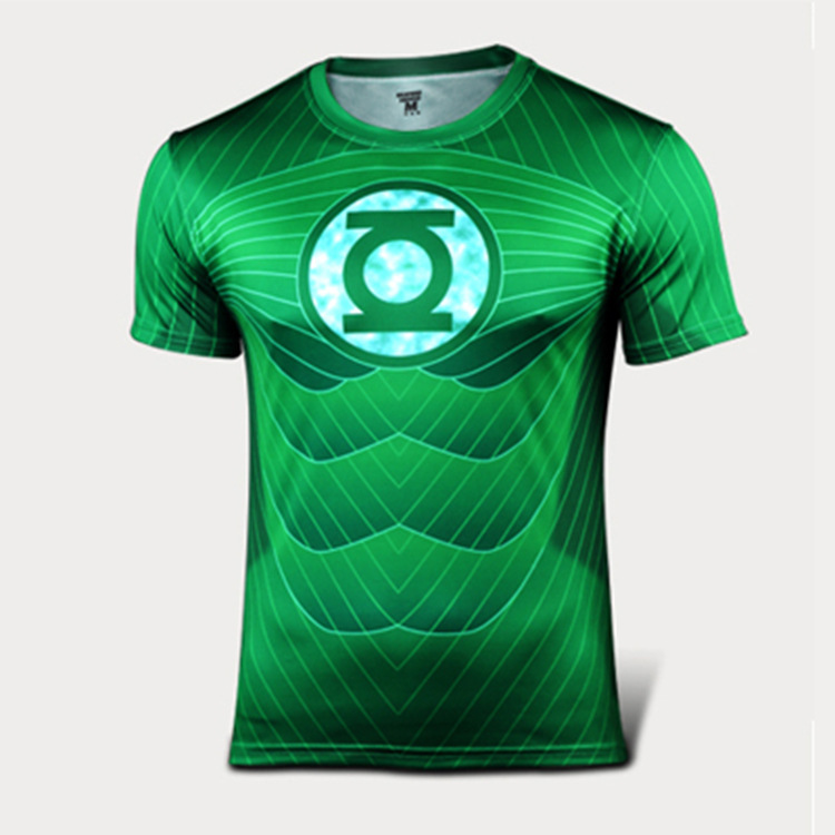 Hot Green Lantern T-shirt sport breathable Compression T shirt 2015 Summer New Men's quick dry shirt sports apparel 4xs-6xl(China (Mainland))
