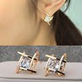 Min order 10 Free shipping Wholesale Silver Plated Geometric Square Zircon Earrings fashion Shape women Jewelry