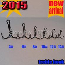 2015NEW ARRIVAL pesca hook the best fishing treble hooks4#6#8#10#12#14# quantily 100pcs/lot high carbon steel treble hook