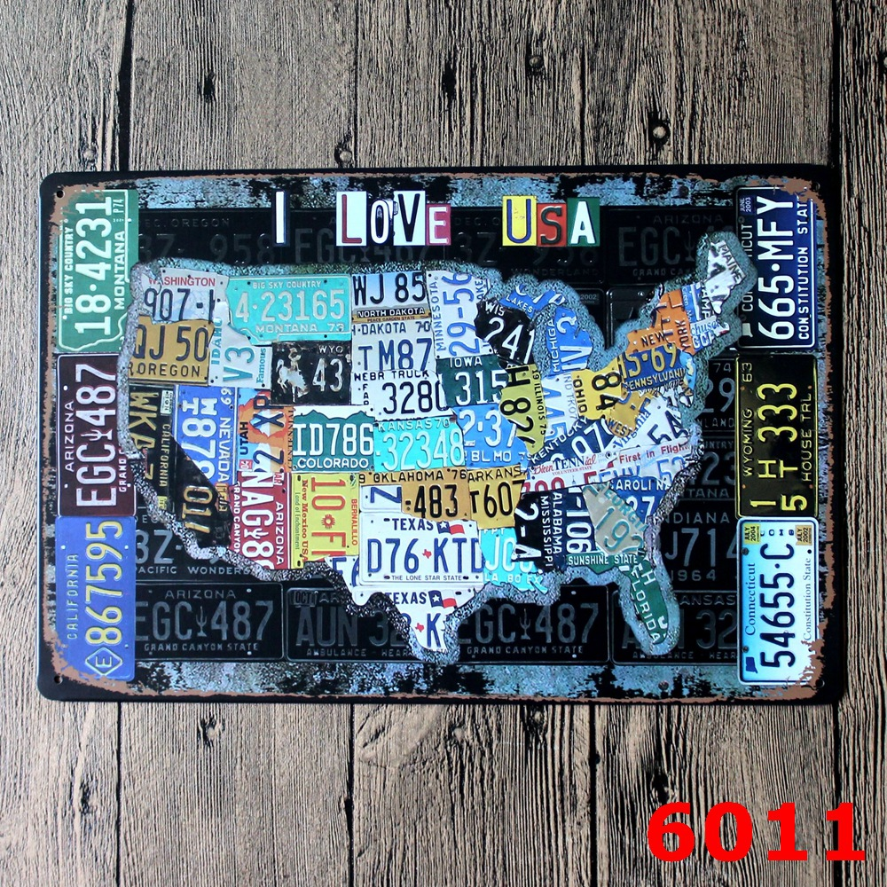 AMERICAN MAP DESIGN Metal Wall Sticker IRON Plaque PUB Wall Sticker house Tin Signs Shop Decor 20X30CM(China (Mainland))