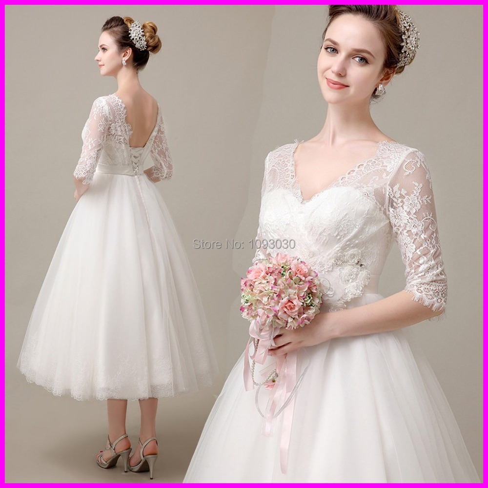 Buy romantic half sleeve cheap mid calf for Cheap wedding dress stores