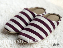 2015 Winter Soft Stripe Plush Slippers Home Valentine Shoes Women & Men House Slippers Ladies Warm Bedroom Slippers(China (Mainland))