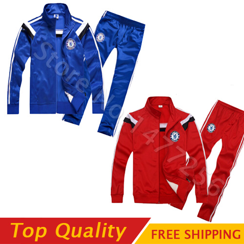 Tracksuits Chelsea long sleeve kit adult Football Suit Soccer tracksuits 14 15 Chelsea FC Soccer Jacket & Pants kit(China (Mainland))