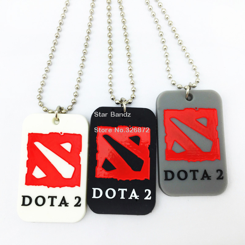 """25PCS/Lot Dota 2 Silicone Dog Tag Fashion Necklace Wtih 24"""" Ballchain, Available For Promotional Gift 3Colours(China (Mainland))"""