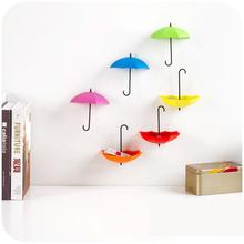 3pcs/lot Umbrella Shaped Creative Key Hanger Rack Decorative Holder Wall Hook For Kitchen Organizer Bathroom Accessories(China (Mainland))