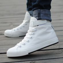 2015 Fashion Canvas High Top Men Casual Solid White Shoes 4 Color Size 39-44 Calzado Zapatos Hombre Chaussure Homme(China (Mainland))