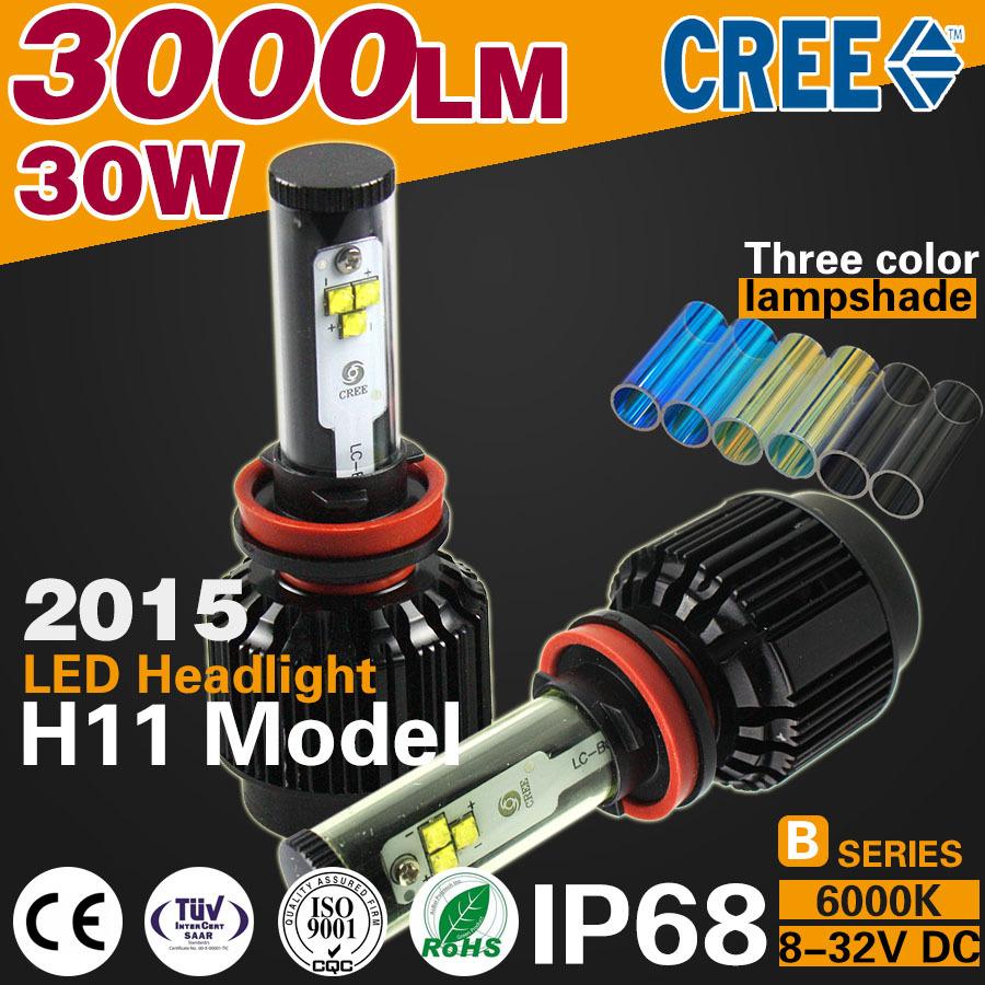 2016 Super Bright 3000LM/Bulb 30W 6000k H11 LED Car Headlights H11 model ip68 Car Light HeadLamp far better xenon Hign Quality(China (Mainland))