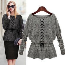 2016 female models big women's long-sleeved women's foreign trade income lumbar puncture rope sweater Joker fashion sweater coat(China (Mainland))