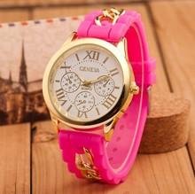 Hot selling ladies geneva gold plated chain women dress quartz watch silicone strap watches girls wristwatches