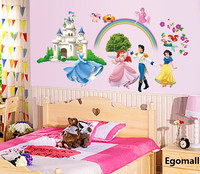 Hot Sale Princess Wall Stickers Girl children bedroom 3D wall stickers home decor wall decals wallpaper princess home decoration
