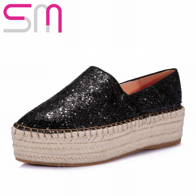 Genuine Leather Lining Women Flats Shine Glitter Pointed toe Flats Flat Sole Thick Sole Spring Flats Weaven Platform Shoes Woman<br><br>Aliexpress
