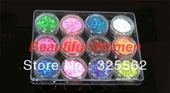 5set/lot 12pcs Color Glitter acrylic Nail Art Powder Dust Tip Decoration Paillette Spangles Wholesale 1556