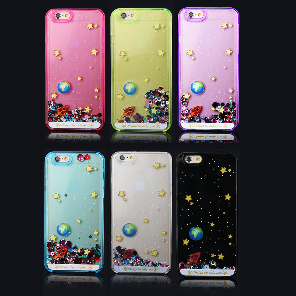 Fashion Clear Colorful PC Hard Cover Glitter Bling Dynamic Quicksand Universe Outer Space Planet Case Iphone 5 5s 6 Plus - Corcossi Science & Technology CO., LTD store