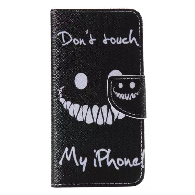 Cuir etui de telephone coques for iPhone 5 5s SE i5 phone cover leather case capa cellular don't touch patterrn smile face black(China (Mainland))