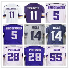 Best quality,Men's 11 Laquon Treadwell 5 Teddy Bridgewater 14 Stefon Diggs 28 Adrian Peterson 55 Anthony Barr elite jerseys(China (Mainland))