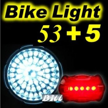 SALE 1PC 1x 53 LED Bicycle Silvery Front Flashlight Waterproof Bike Torch 4 Modes Bicycle Head Lamp + 5 Led Red Rear FlashLight