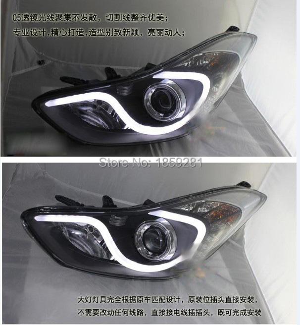 Elantra headlight,Avante MD,2012~2015(LHD,RHD need add 200USD),Free ship! Elantra fog light,2ps/se+2pcs Aozoom Ballast, Elantra