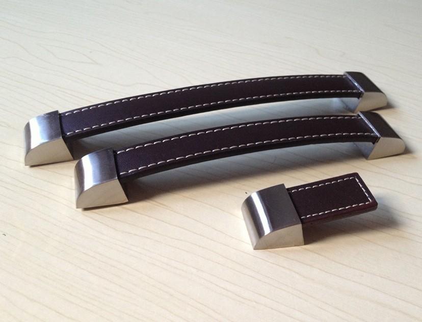 Hole Pitch 96mm/128mm/160mm/192mmSingle Knob Brown Leather Cabinet Hardware Pulls Kids Kitchen Drawer Dresser Closet Handle