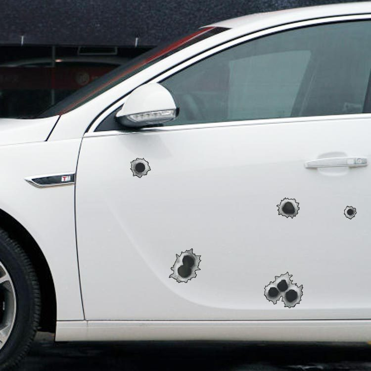 Funny Car Decoration Simulation Of Bullet Holes Car sticker and Decal For Motorcycle Bicycle VW Golf 5 Polo Opel Renault Nissan(China (Mainland))