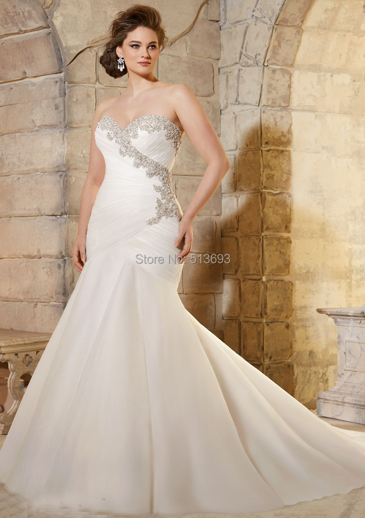 Лучшее качество полный кристалл узелок плиссе русалка свадебное платье Большой размер свадебные платья Hot 2015