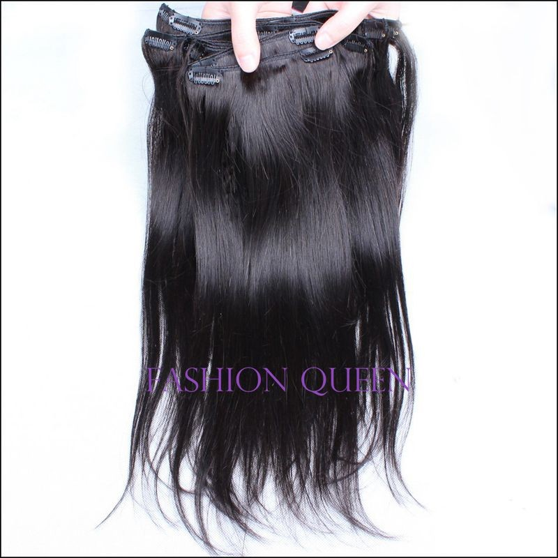 Full Head African American Clip In Hair Extensions 8pcs/set Virgin Human Brazilian Hair Clip In Extensions Natural Straight Hair