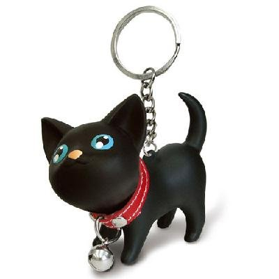 New Black cat lovers key chain lovely gifts for children 2pcs/lot(China (Mainland))