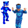 2017new Pj Mask Cosplay Costume Catboy Owlette Gekko Cape With Masks Wristband Cape Carnaval Costumes For