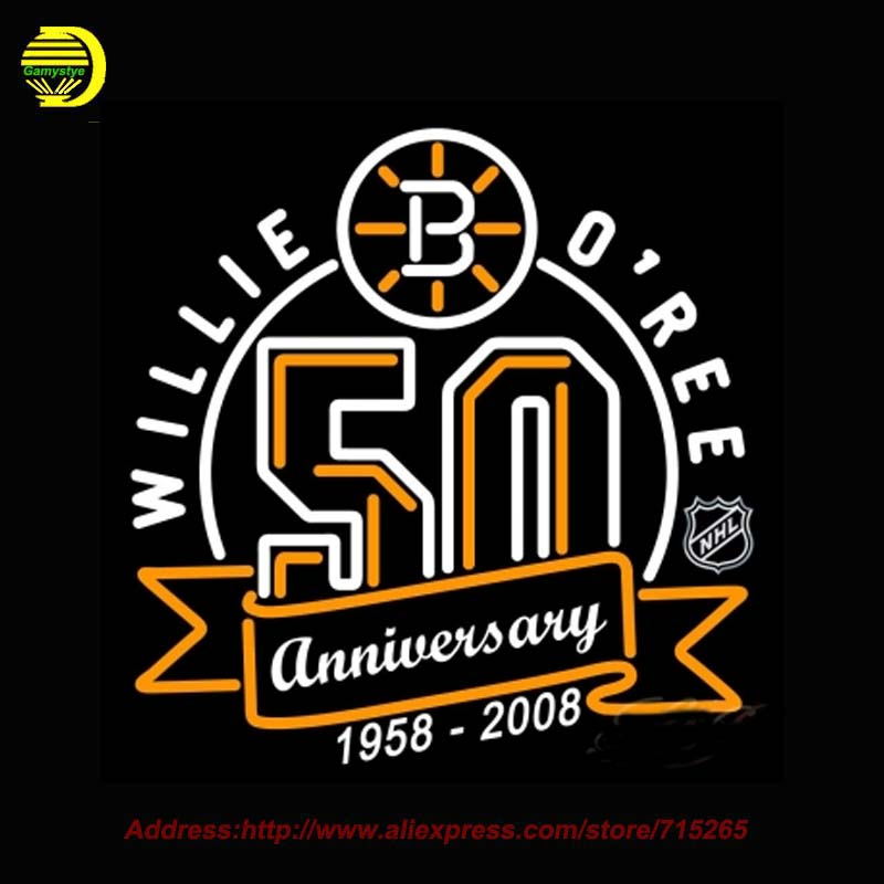 Boston Bruins 2007 Anniversary NHL Neon Sign Neon Bulb Recreation Glass Tube Handcrafted personalized custom Arcade Sign 26x26(China (Mainland))