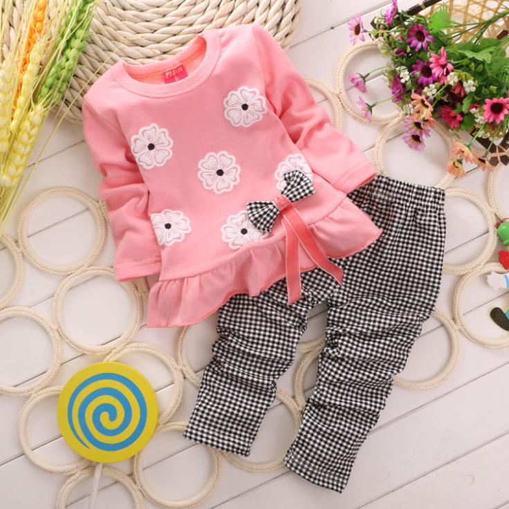 2015 Girls clothes Baby Girl Clothing Set Children Flower Bow Cute Suit 2PCS Kids Twinset Top T Shirt +Plaid Pants Leggings(China (Mainland))