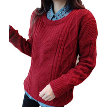 2016 new arrive autumn winter  women's sweaters European style retro twist diamond O-neck mohair casual pullovers sweater 180(China (Mainland))