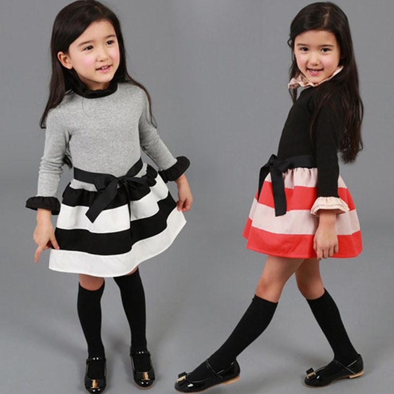 New 2016 Autumn Girl Dress Stripe Wavy Casual Baby Kids Dresses Ribbon Bow Girl Dress Princess Party Baby Girl Clothing For girl(China (Mainland))