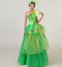 green dance costumes women clothes clothing wedding dress performance costume - ShenZhen FangWei Trading Store store
