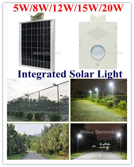 18V Solar Panel 12V 5W/8W/12W/15W/20W LED Street Light Solar Street Garden Park Road Light Lamp with Sensor(China (Mainland))