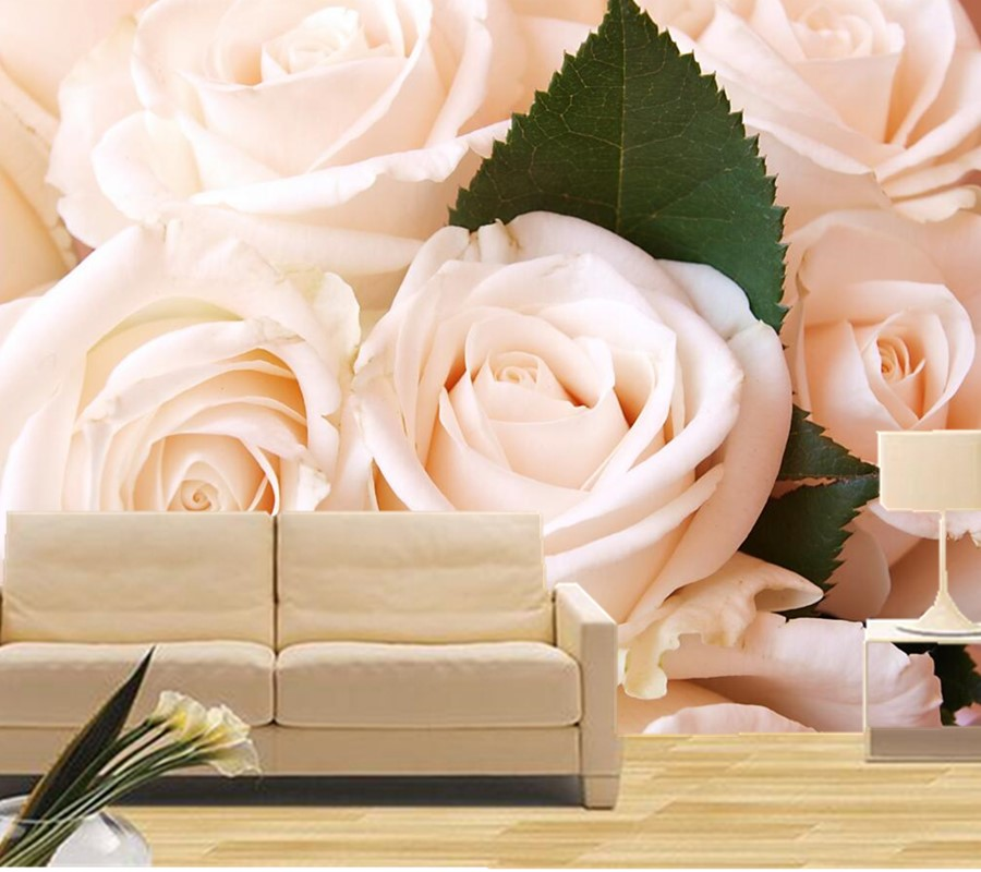 Custom 3D large mural,Pure and fresh white roses wallpaper,hotel coffee shop living room tv sofa background bedroom wallpaper(China (Mainland))