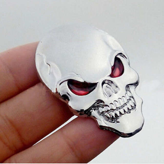 High Quality Cool Car Motor Bike Metal Emblem Badge Decals 3D Skull Bone Sticker 2016 Hot Silver Free Shipping Hottest Useful