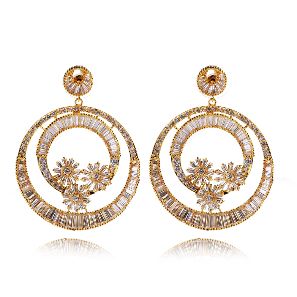 unique luxury earrings famous design in 18k gold plated setting top quality baguette crystal stones <br><br>Aliexpress