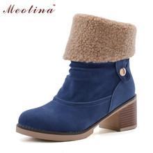 Las mujeres de la Nieve del Invierno Botas Occidentales Botas Chunky Mediados Talones Media Pantorrilla botas de Hebilla de Las Señoras Calzado Zapatos de Piel Azul de Gran Tamaño 40 41 43(China (Mainland))