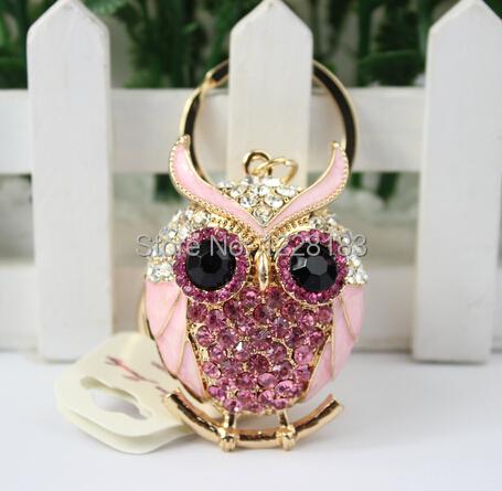 2014 new fashion! Lovely Lucky Colorful Crystal Popular Symbolized Owl Keychain Hotselling Keyring Bag Hanging Decor Item Gifts(China (Mainland))