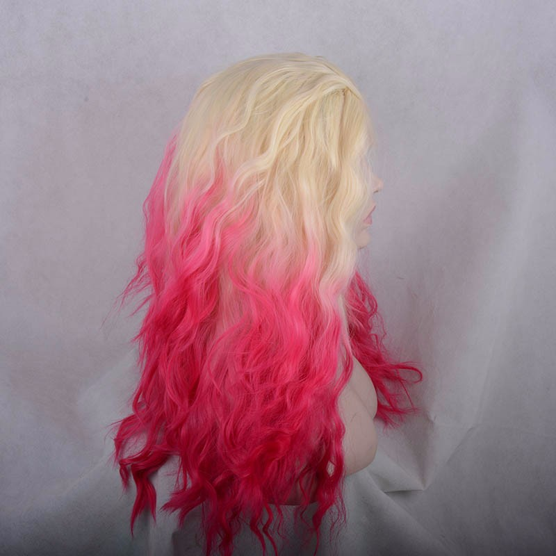 New Arrival Heat Resistant Ombre Blonde And Pink Color Long Wavy