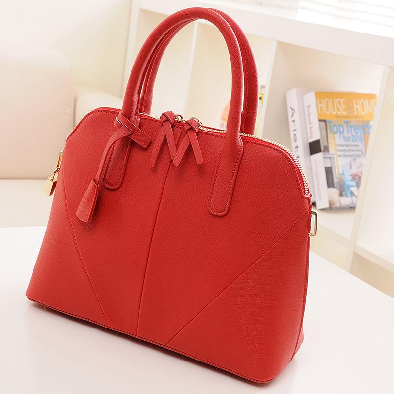 2016 new European red cross pattern bride shell bag shoulder handbag(China (Mainland))