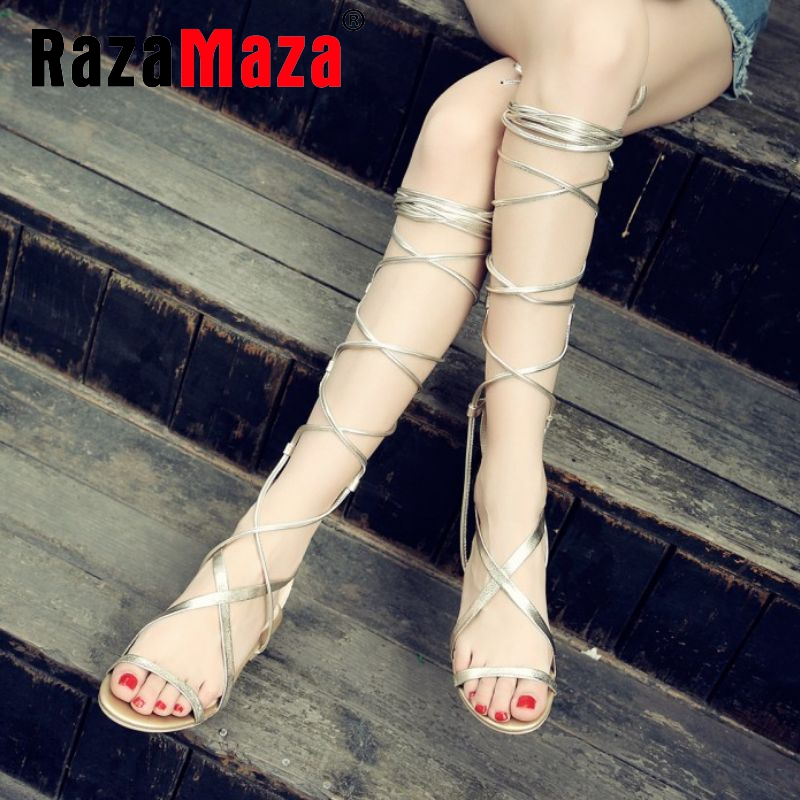 size 33-43 lady real genuine leather brand flat sandals women rome sandlas high sandalias cross strap zipper summer shoes R08605<br><br>Aliexpress