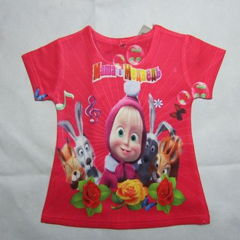 "Baby clothing 2013 New dora "" Masha and bear ""short sleeve 3D t shirts for Girls boys clothes 2~8Age Children clothing"