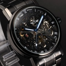 Mens Steampunk Black Case Relogio Luxury Hollow Skeleton Male Automatic Self Wind Mechanical Stainless Full Steel Watch / PMW269