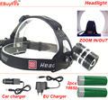 2000LM led zoom Headlight AAA 18650 Headlamp Cree T6 rechargeable led head light 2x 18650 rechargeable