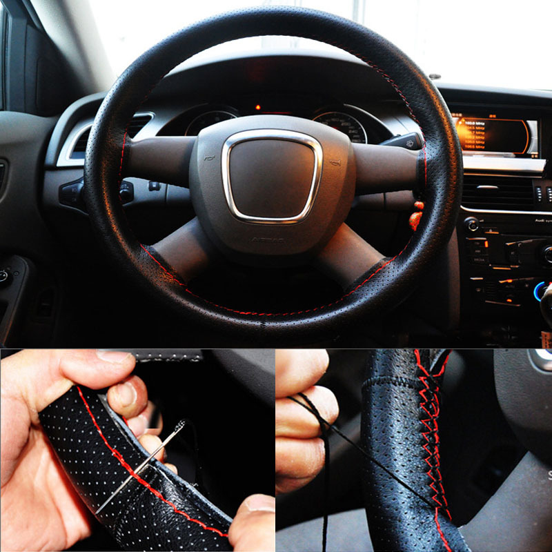 New Fashion Car Steering Wheel Cover Universal Genuine Leather DIY With Needles And Line()