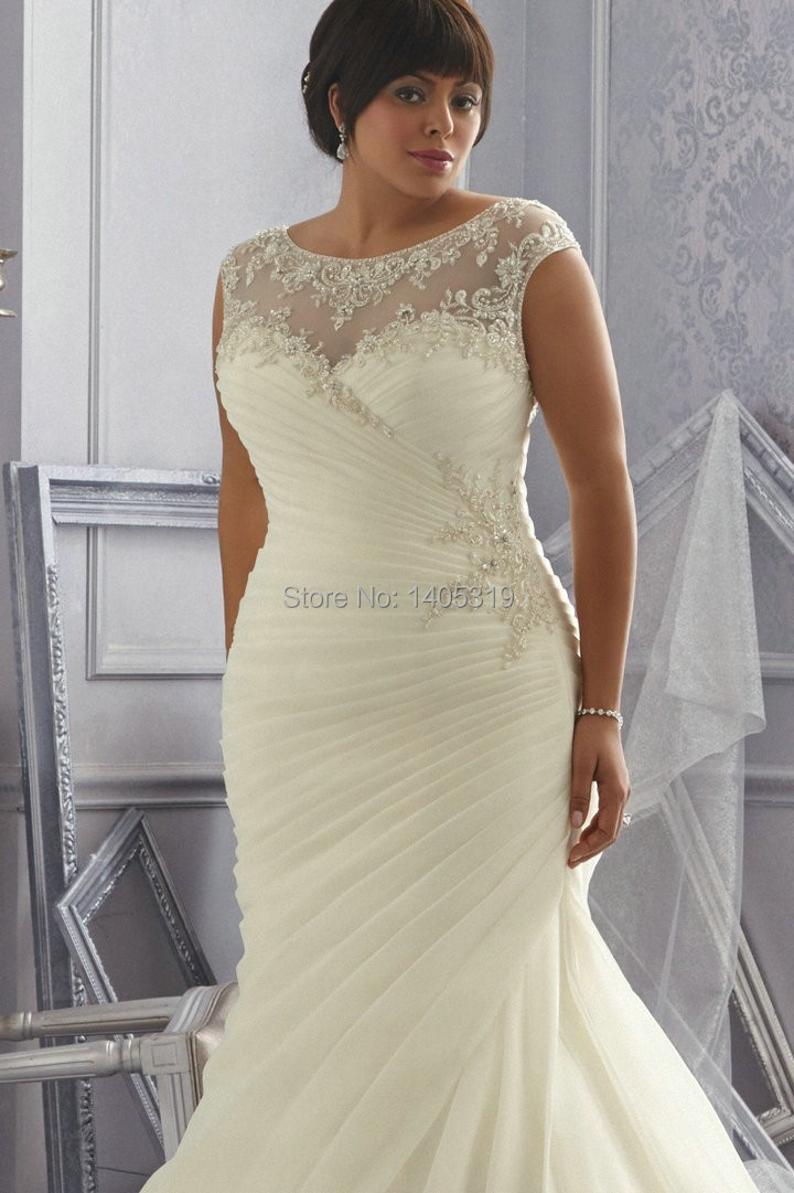Dresses princess picture more detailed picture about for Plus size mermaid wedding dresses with sleeves