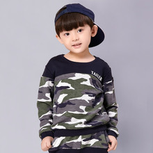 Europe And The United States Are Autumn And Winter Camouflage Kids Series Two Piece Suit Sweater Boy Stitching Jacket + Pants(China (Mainland))