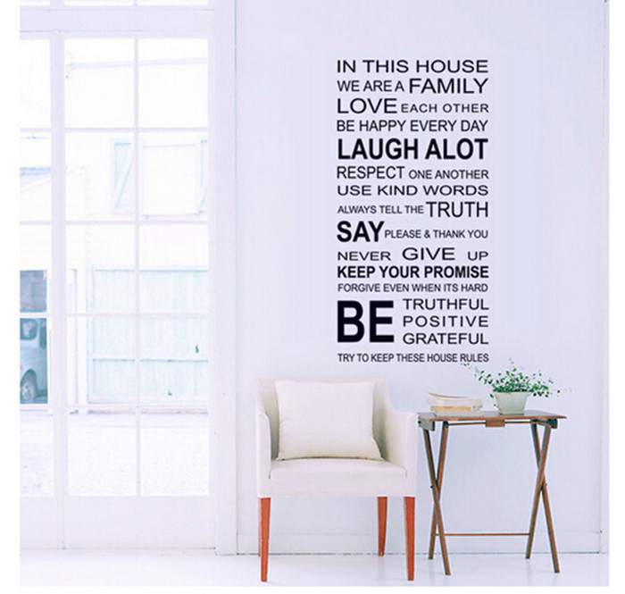 English words fashion DIY Art design removable wall stickers top quality home decor Free Shipping MF8745631(China (Mainland))