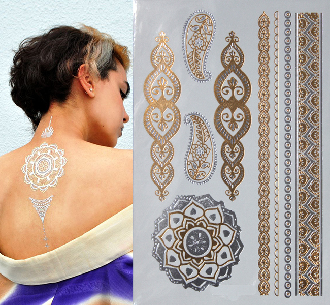 500 style Body art chain gold tattoo temporary tattoo tatoo flash tattoo metallic tattoo jewelry temporary tattoost stickers(China (Mainland))